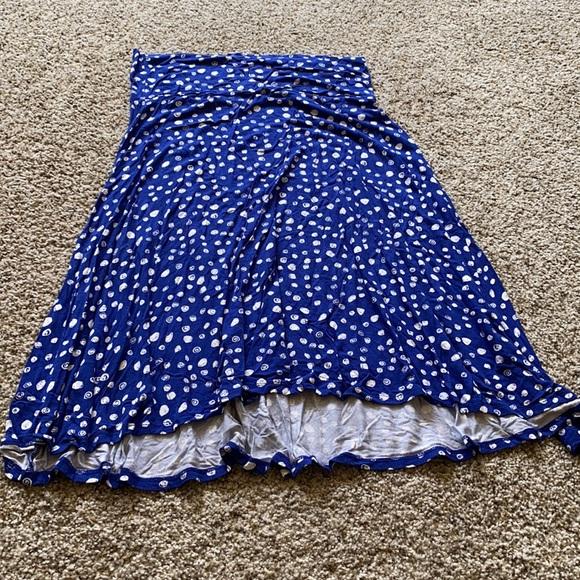 Blue Azure skirt, blue with white dots, EUC